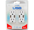 Receptacle - USB - White / 5618D (2 Pack)
